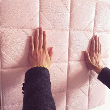 Self - adhesive wallpaper, leather, soft, waterproof, thick, three - dimensional living room TV wall-153
