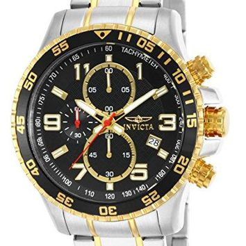 Mens Invicta Gold Ion-Plated and Stainless Steel Watch