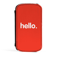 Hello Premium Faux PU Leather Case Flip Case for Samsung Galaxy S3 by textGuy