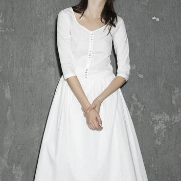 White linen dress maxi dress women dress long prom dress(1306)