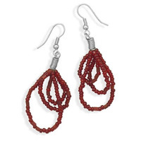 Red Glass Bead Fashion Earrings