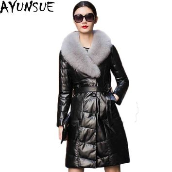 AYUNSUE Plus Size 6XL 2016 Genuine Leather Jacket Women White Duck Down Pure Fox Fur Leather European Thick Overcoat Mujer LX77