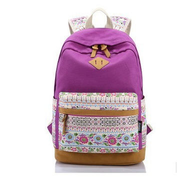 Korean Canvas Printing Backpack Women School Bags for Teenage Girls Cute Bookbags Vintage Laptop Backpacks Female bolsa mochila