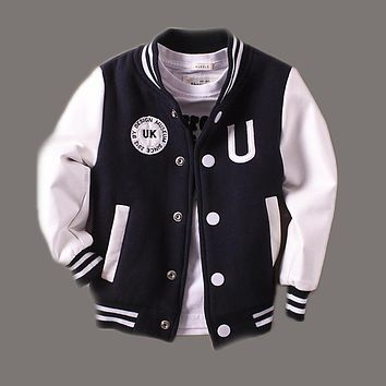 Trendy Baby Boys Jacket Clothes 2-14 years old Spring 2018 New Children Kids Baseball Outerwear Coats leather Sleeve infant jackets 360 AT_94_13