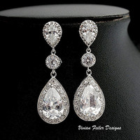 Bridal Earrings Wedding Jewelry Bling Cubic Zirconia Prom - Vivian Feiler Designs | Wedding Jewelry