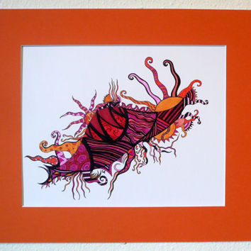 Original abstract pen and ink drawing Red orange by ablazeincolor
