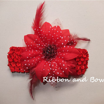 "FREE Shipping!.Set of 2! 4"" Gerbera Daisy and lily flower headbands, alligator hair Clip with crochet headbads, you pick up the colors"