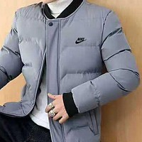 NIKE winter new trend casual plus velvet warm men's down jacket grey