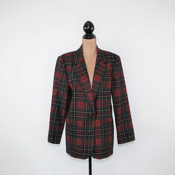 Tartan Plaid Blazer Jacket Women Size Large Red Green Wool Size 12 Jacket Plaid Coat Winter Sag Harbor Vintage Clothing Womens Clothing