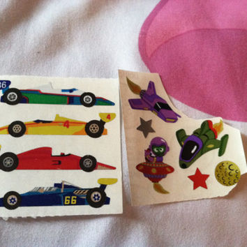x2 Lot Sandylion Stickers Racing Cars Outerspace Stars Cool Galaxy