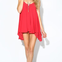 SPAGHETTI STRAP BABYDOLL LACE DRESS - RED