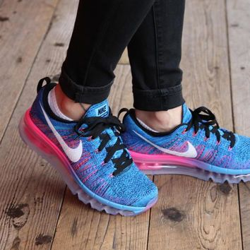 Women's Nike Flyknit Air Max Running Shoes 'Black/White-Blue Glow-Pink' (Tmall ORIGINA