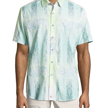 Kona Embroidered Multi-Print Sport Shirt,