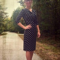 Polka Dot Knee Length Dress - Apostolic Clothing
