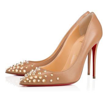 Christian Louboutin Cl Spikyshell Nude/light Gold Leather 18s Pumps 1180580n013 -