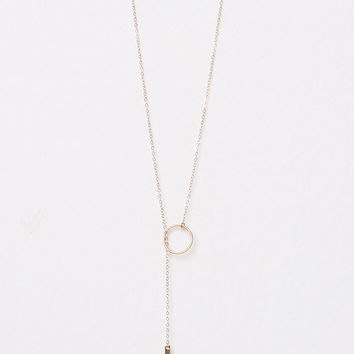 Ring and Bar Lariat Necklace