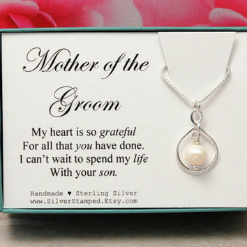 Gift for Mother of the Groom thank you gift silver necklace, wedding party gift, bridal party gift, gift for groom's mother from Bride