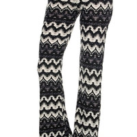 Bohemian Print Flared Stretch Knit Pants