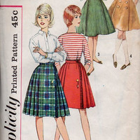 Simplicity 4151 Sewing Pattern 60s School Girl Full Circle Pleated Flared Paneled Midi Kilt Bandstand Swing Skirt Waist 24