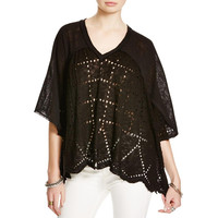 Free People Womens Summer Lovin' Perforated Linen Blend Blouse
