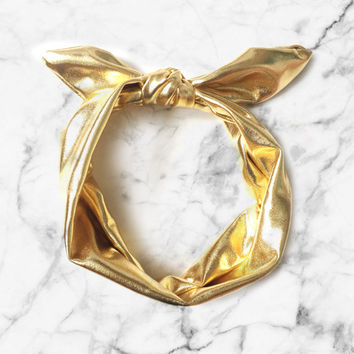 MINIFOLK - Metallic Gold Funky Rabbit Ears Baby Toddlers Headband - KPOP Style - Trendy Baby Hairwraps