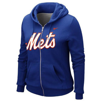 Nike New York Mets Ladies Classic Full Zip Hoodie - Royal Blue