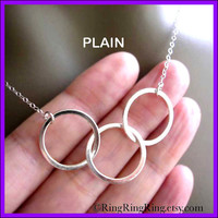 Trio - 925 Sterling silver necklace jewelry - Three silver circles necklace. (Plain or Hammered) 072012