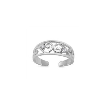 Sterling Silver Filigree Double CZ Toe Ring