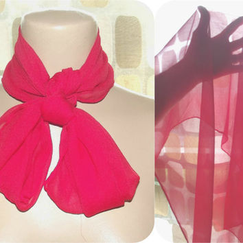 "Vintage 50s 60s RED Silk Chiffon Sheer Hand Rolled Head Scarf GLENTEX Large Size 28"" X 28"" Square Pin-Up"
