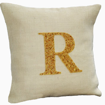 Personalized pillows- Monogrammed pillows- Personalized burlap pillows - Burlap pillow cover - 16 X16 - Ivory gold pillow - Initial Pillow
