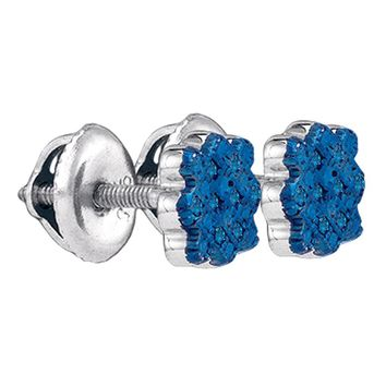 Sterling Silver Womens Round Blue Color Enhanced Diamond Cluster Screwback Stud Earrings 1/20 Cttw