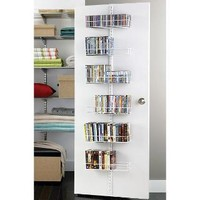 White elfa Door & Wall Rack Media System Components | The Container Store