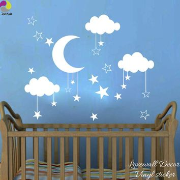 Baby Nursery Moon Star Cloud Wall Sticker Kids Room Nature Space Wall Decal Child Room Bedroom Vinyl Home Decor Wall Art Mural
