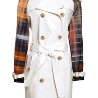 Classic Trench Coat With Plaid Sleeves by Michael Angel - Moda Operandi