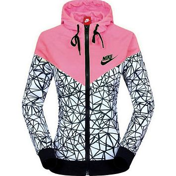 nike women fashion printed hooded zipper cardigan jacket windbreaker