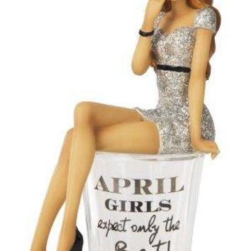 Hiccup by H2Z 73712 quotApril Girls Expect Only The Bestquot Shot Glass with 534Inch Girl Figurine