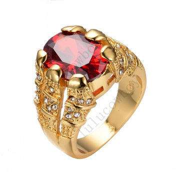Size 8/9/10/11/12 Shining Red CZ Ruby Wedding Ring 14KT Yellow Gold Filled Mens Fashion Engagement Rings New Style RY0005