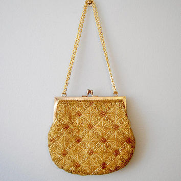 Vintage Gold Beaded Evening Bag Small Purse Metallic Clutch Formal Coin Purse Chain Strap Geometric Dressy Gold Handbag Sequined Beading