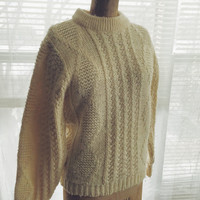 Vintage Cable Knit Thane Virgin Wool Fisherman Sweater Size Small