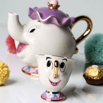 Drop shopping!!! Beauty And The Beast Teapot Tea Set Mug Mrs Potts Chip Cup Tea Pot Cup Set Nice Xmas Gift Free Shipping