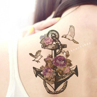 VIntage Anchor Bird Floral Large Illustration tattoo - InknArt Temporary Tattoo - wrist tattoo body sticker fake tattoo quote