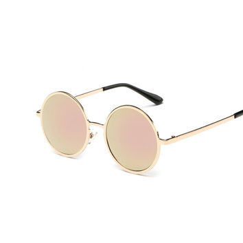 New Brand Designer Classic Ladies Round Sunglasses Men Small Vintage Retro Sun Glasses for Women Driving Metal Eyewear Female