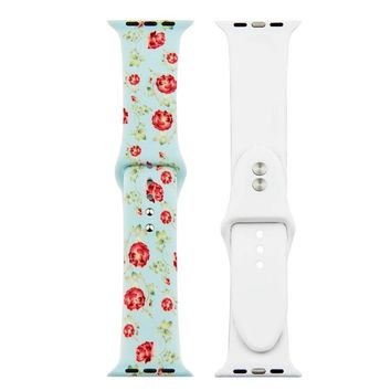 Baby Blue Flower Silicon Replacement Apple Watch Band
