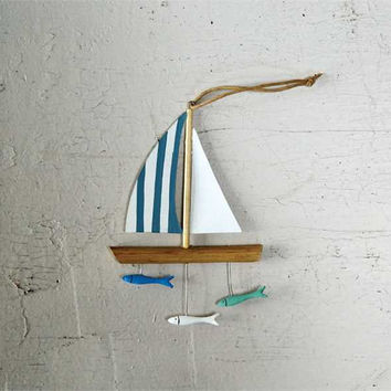 Painted Wood and Tin Sailboat and Fish Ornament 6-1/2-in