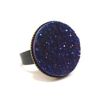 Titanium Flame Cobalt Blue Druzy Ring by AstralEYE on Etsy