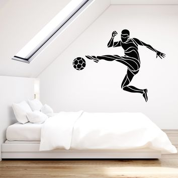 Vinyl Wall Decal Soccer Player Ball Sport Gift For Boys Stickers (2326ig)
