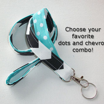 Lanyard  ID Badge Holder - Lobster clasp and key ring - design your own black chevron white polka dots aqua  two toned double sided