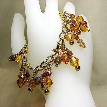 Romantic charm bracelet Gold chain bracelet Brown amber and honey glass beaded bracelet Beaded jewelry