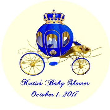 Prince Baby Shower Stickers Carriage