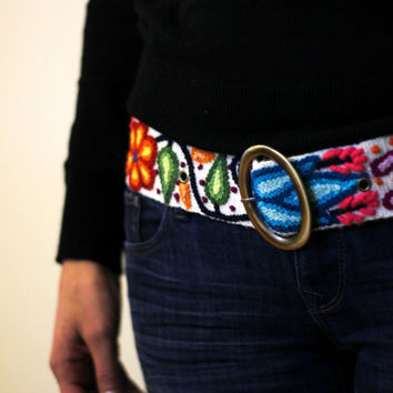 Wool floral embroidered belt, handmade Peruvian belts, boho belts, ethnic tribal belts, buckle belt